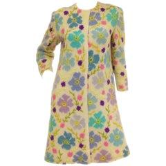 1960s Italian Hand Knit Floral Wool Sweater Coat