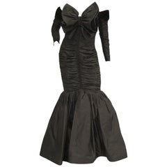 1980s Nina Ricci Couture Black Evening Dress with Sleeves