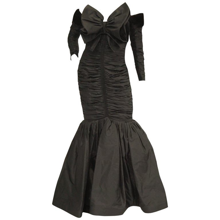 1980s Nina Ricci Couture Black Evening Dress with Sleeves For Sale