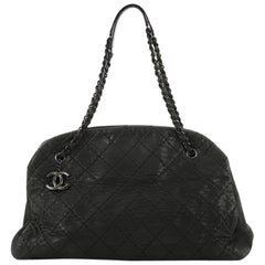 Chanel Just Mademoiselle Handbag Quilted Iridescent Leather Max