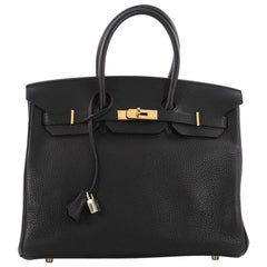 Hermes Birkin Handbag Black Clemence with Gold Hardware 35
