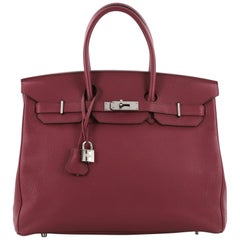 Hermes Birkin Handbag Rubis Togo with Palladium Hardware 355