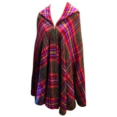 Couture Missoni Colorful Knitted Hooded Wool Cape Cloak Orange Label