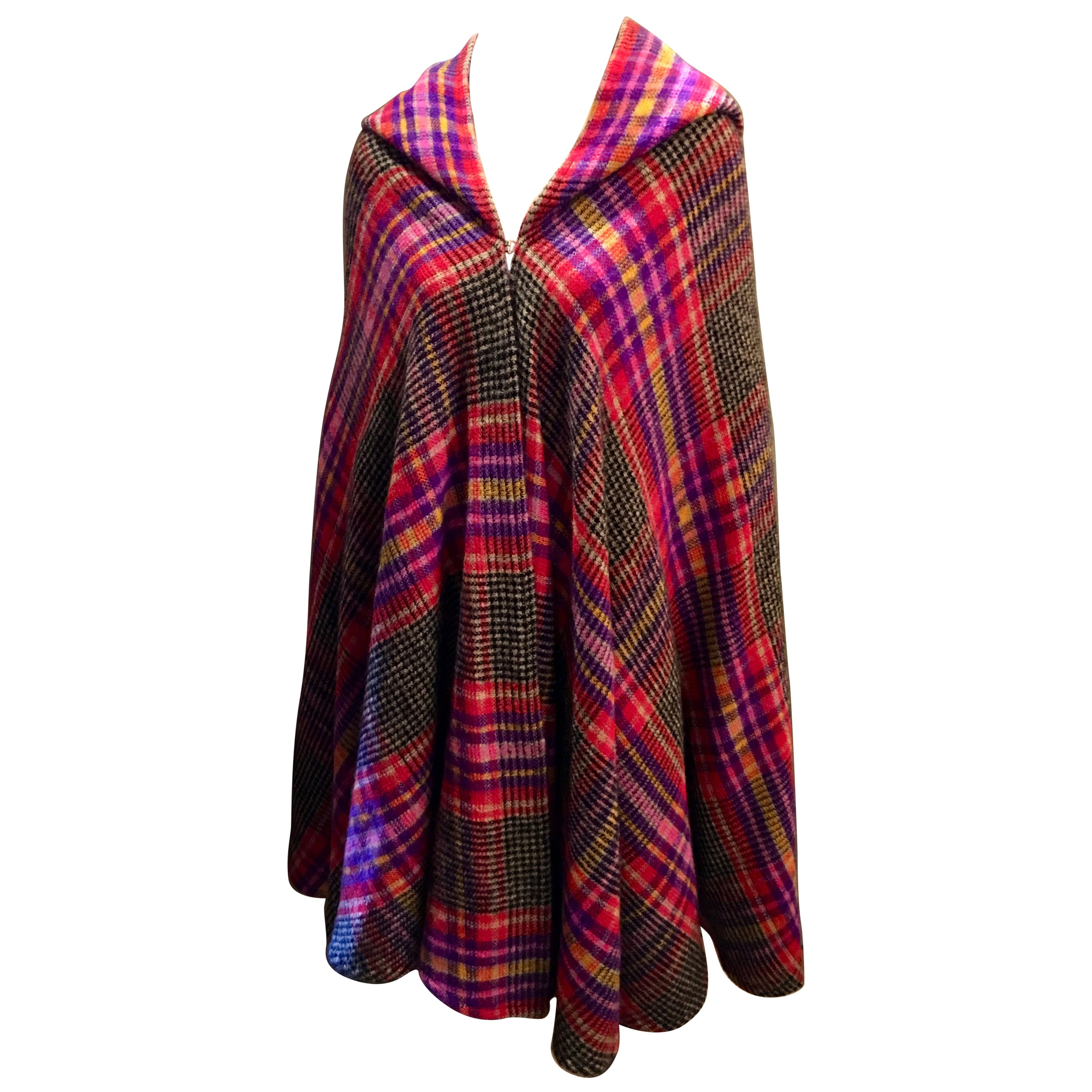 Couture Missoni Plaid Knitted Hooded Wool Cape Cloak with Orange Label