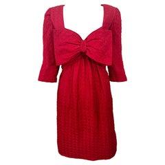 Vintage Oscar de la Renta Size 10 Lipstick Red Avant Garde Silk 3/4 Sleeve Dress