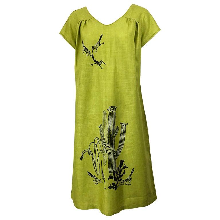 Rare 1970s Harwood Steiger Screen Printed Ant Eater Novelty Linen Tunic Dress For Sale