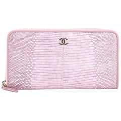 Chanel Zip Around Wallet Lizard Long