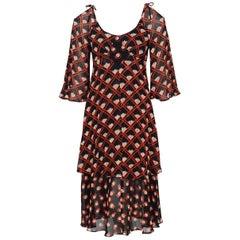 1970 Ossie Clark Black & Red Celia Birtwell Print Chiffon Tiered Bias-Cut Dress