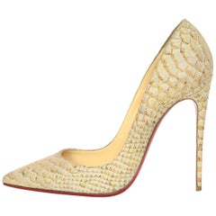 Christian Louboutin Tan Python So Kate Heels Pointed Toe Pumps Sz 38.5