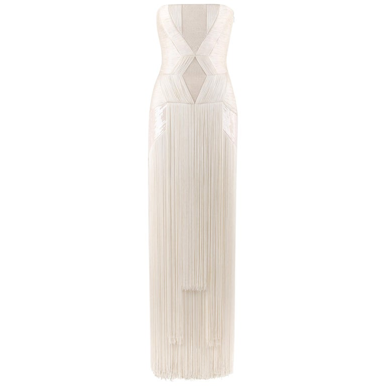 Atelier VERSACE S/S 2011 White Sequin Embellished Fringe Art Deco Evening Gown For Sale
