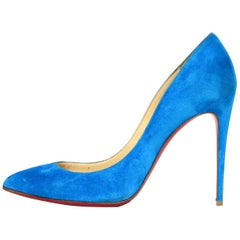 Christian Louboutin Egyptian Blue Suede Pigalle Follies Heels Sz 38.5