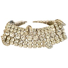 20th Century Art Deco Silver & French Paste Crystal Rhinestone Bracelet