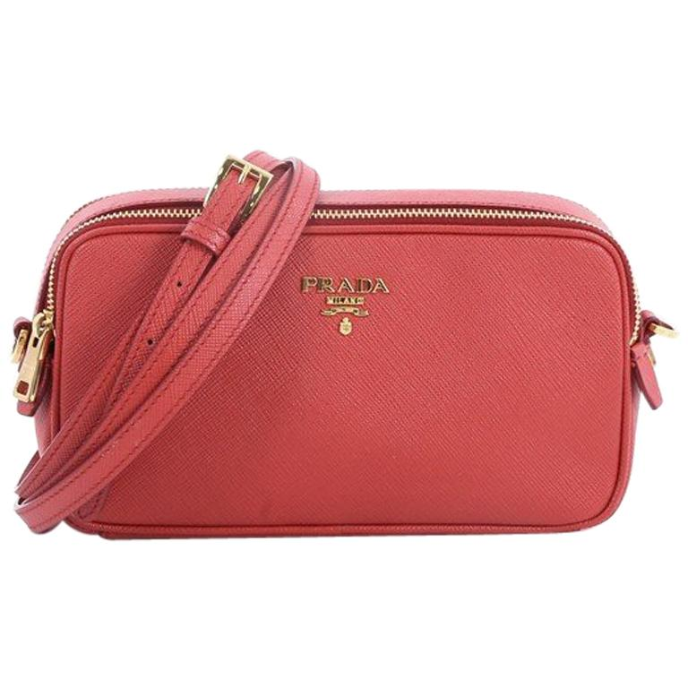 511820c2b304 Prada Double Zip Crossbody Bag Saffiano Leather Mini at 1stdibs
