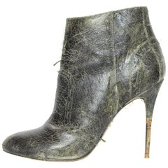 Maison Margiela Distressed Green Leather Heeled Booties Sz 39