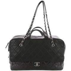 Chanel Duo Color Front Flap Satchel Quilted Glazed and Iridescent Calfskin Large