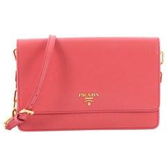 Prada Chain Wallet Crossbody Saffiano Leather,