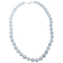 Vintage Natural Aquamarine 10mm Bead Necklace with Sterling Silver Clasp