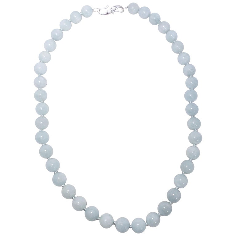 a8e3595f025fb Vintage Natural Aquamarine 10mm Bead Necklace with Sterling Silver Clasp