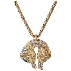KJL Kenneth Jay Lane Fleece Sheep with Pave Crystals Necklace in Gold and Silver