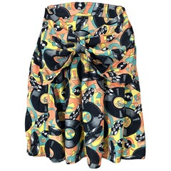 Awesome 1990s Novelty Record Music Print Vintage 90s High Waisted Mini Skirt