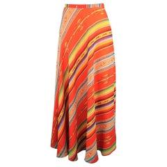 RALPH LAUREN Size 6 Red Orange Mexican Serape Print Silk A Line Maxi Skirt