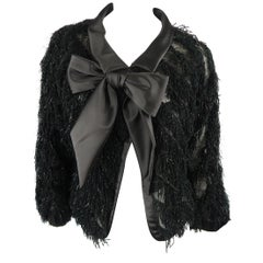 GIORGIO ARMANI Size M Black Silk Blend Fringe Bow Collar Jacket