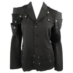 "COMME des GARCONS Size M Unisex Black Wool Snap Armor ""Man"" Blazer Jacket"