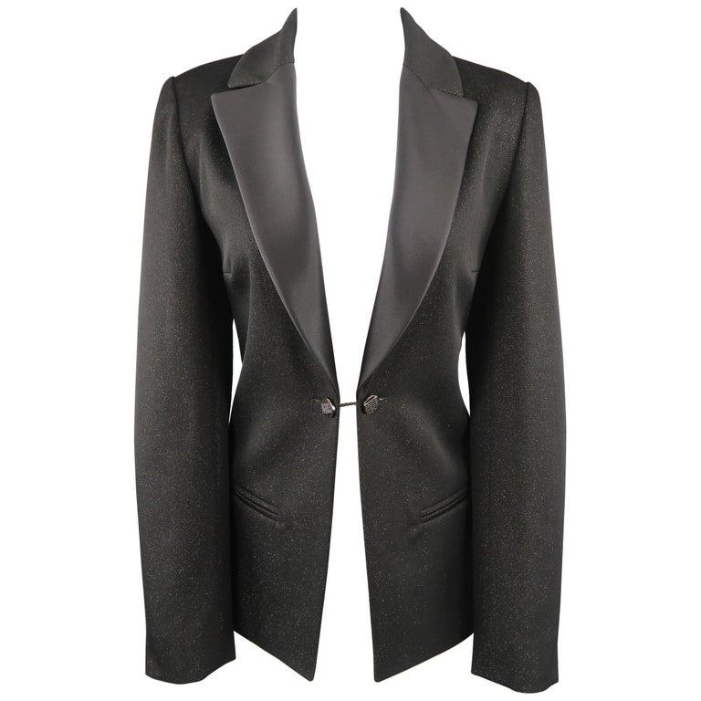 CHANEL Size 10 Black Sparkle Twill Satin Peak Lapel Tuxedo Jacket For Sale