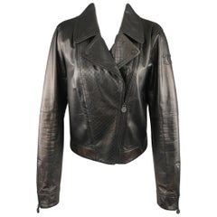CHANEL Leather Jacket - Size 10 Black Quilted Leather CC Zip Motorcycle Jacket