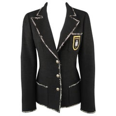 CHANEL Size 6 Black Wool Blend Boucle Trim No. 5 Blazer Jacket