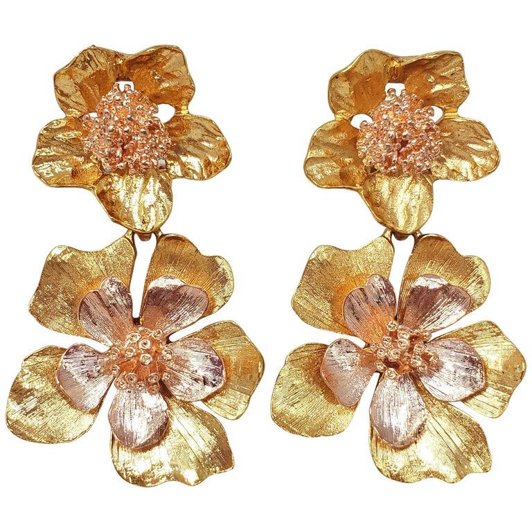 oscar de la renta yellow gold bold dangling flower drop clip on