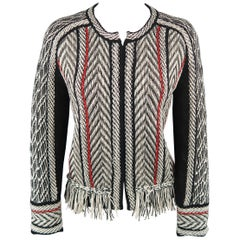 OSCAR DE LA RENTA Size M Black & White Red Piping Fringe Hem Cardigan Sweater