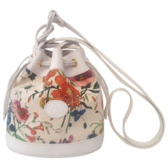 Gucci White Flora Small Bucket Drawstring Bag