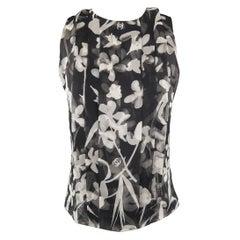 CHANEL Size M Black & White Floral CC Pleated Silk Chiffon Sleeveless Blouse