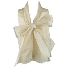 OSCAR DE LA RENTA Size 8 Beige Silk Blend Tulle Overlay Oversized Bow Blouse