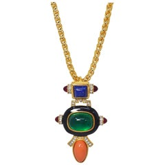 KJL Kenneth Jay Lane Art Deco Cabochon & Crystal Pendant Necklace on Gold Chain