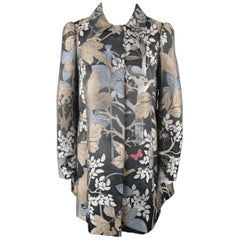 RED VALENTINO Size 4 Charcoal Beige & Blue Forest Print Jacquard A Line Coat