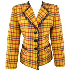 Vintage YVES SAINT LAURENT Size 6 Yellow Red & Blue Plaid Wool Collarless Jacket