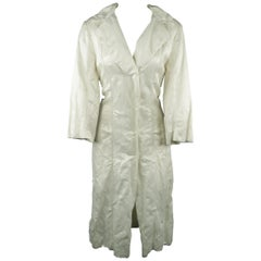 LANVIN Size 8 Off White Wrinkle Textured Satin Snap Coat