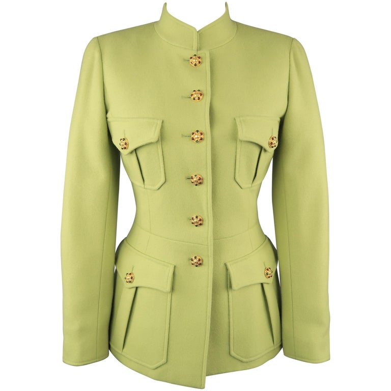 CHANEL BOUTIQUE 1990s Size 6 Light Green Wool Byzantine Button Military Jacket For Sale