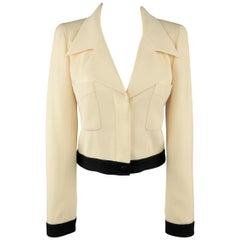 CHANEL Size 6 Beige & Black Wool Cropped Pointed Lapel Jacket