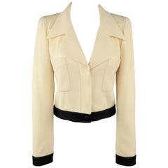 Beige & schwarze Wolljacke mit spitz geschnittenem Revers, Chanel, Größe 6