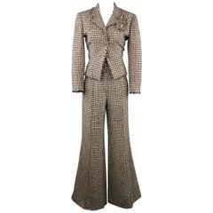 CHANEL Size 8 Beige Pastel & Black Plaid Tweed High Rise Wide Leg Pants Suit