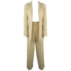 Vintage CHANEL 8 Beige Rainbow Speckle High Rise Pleated Wide Leg Pants Suit