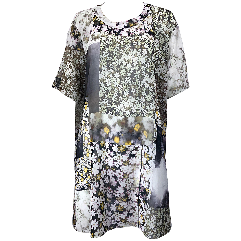 Rare Maison Margiela Optical Illusion Photo Print Oversized T Shirt Dress Tunic
