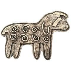 Curly Sheep, Sterling silver pin pendant Melanie Yazzie Navajo