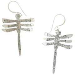 My Protectors, three winged dragonfly earrings silver Navajo Melanie Yazzie