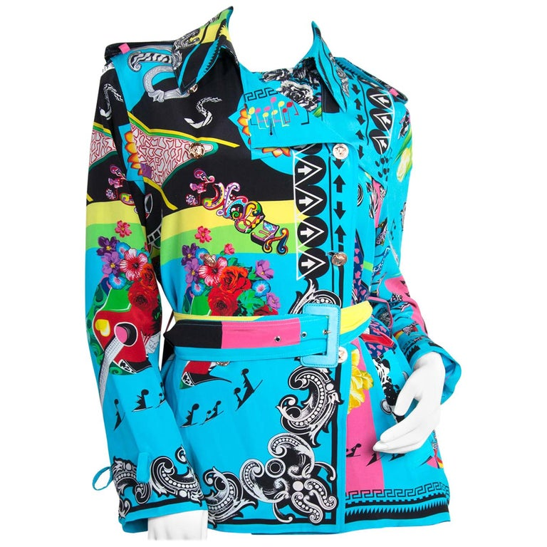 Versace Multicolor Marlene Printed Blouse -Size 40 For Sale