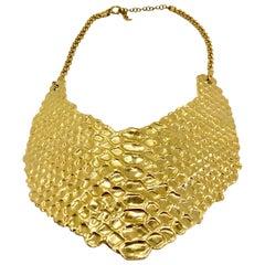YSL Vintage Snakeskin Effect Bib Necklace