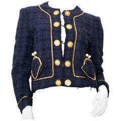 Moschino Dark Blue Tweed Jacket - Size 40